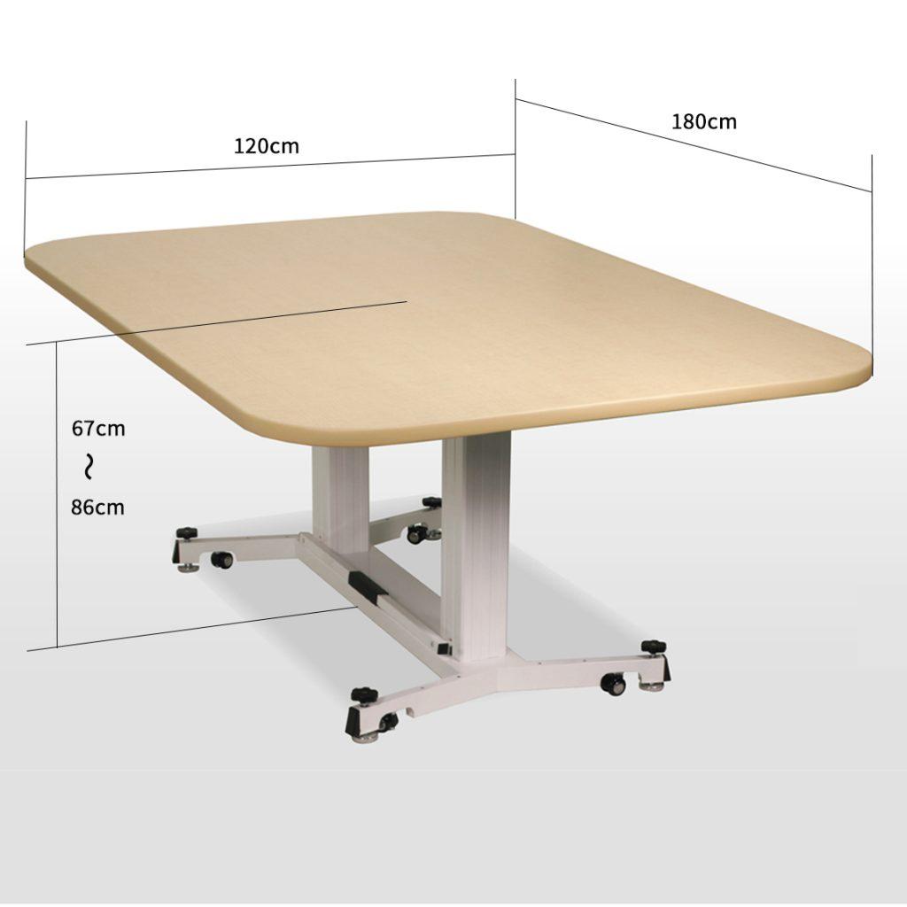 折畳昇降テーブル ナチュラル(木目)
